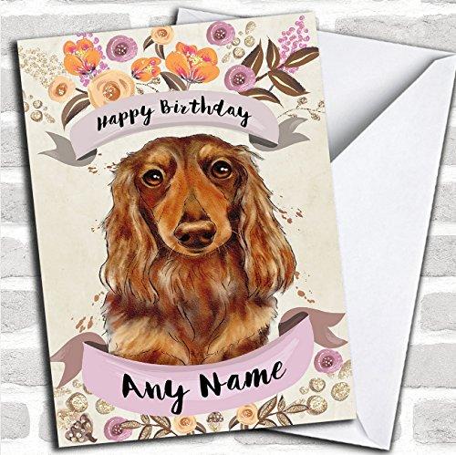 Rustieke gouden hond langharige teckel op maat verjaardagskaart