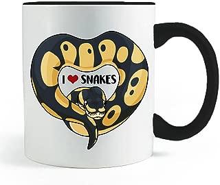 Phantom Ball Python Heart Snake Mug- Black Handled Coffee and Tea Mug