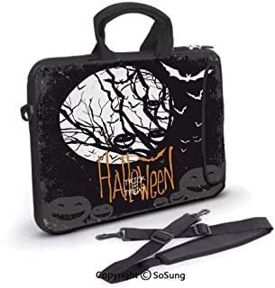 13 inch Laptop Sleeve Case,Halloween Themed Image with Full Moon and Jack o Lanterns on a Tree Decor