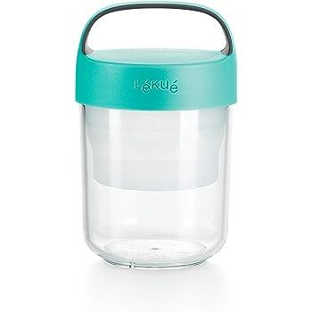 Lékué - Recipiente hermético para transportar alimentos, Turquesa, 400 ml