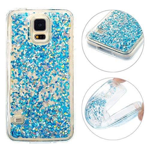 Galaxy S5 Neo Hülle Flüssig, Moon mood Handyhülle 3D Case Kristallklaren Silikon TPU Weich Back Bling Glitzer Flüssig Handyhülle Handy Hülle Case Bumper für Samsung Galaxy S5 / S5 Neo/SV I9600