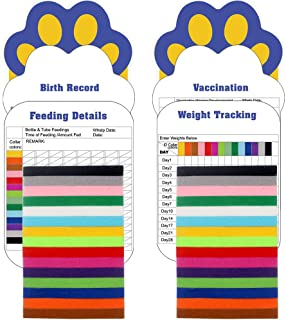 SCIROKKO 30 Pcs/Set Puppy ID Collar with 4 Record Keeping Charts- Double Sided Soft Identification Bands - Adjustable Whel...