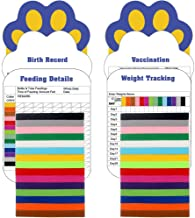 SCIROKKO 30 Pcs/Set Puppy ID Collar with 4 Record Keeping Charts- Double Sided Soft Identification Bands - Adjustable Whelping Collars for Newborn Pets - 15 Colors