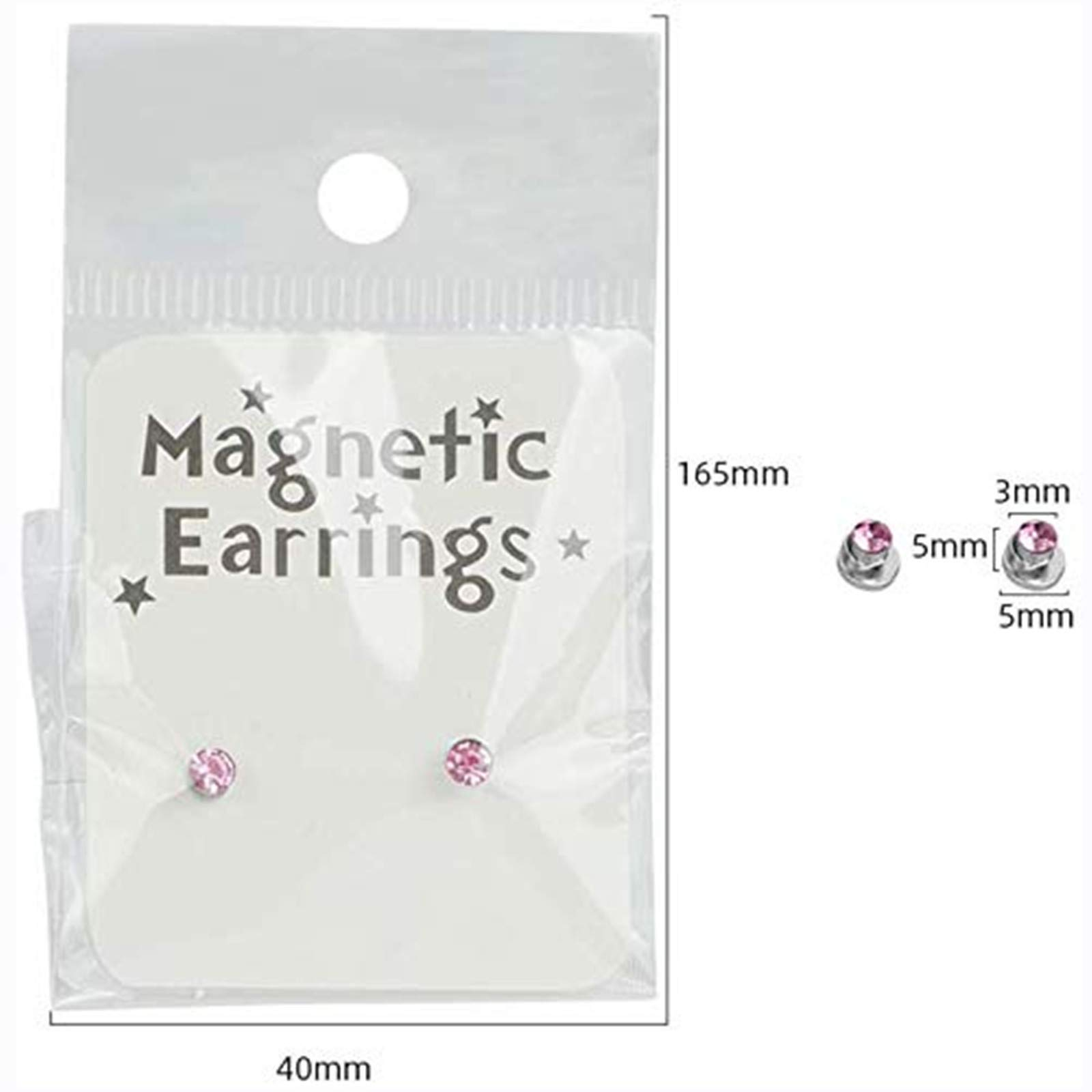 3mm Crystal Magnetic Stud Earring Magnet Nose Ear Lip Stud Non Piercing Tragus Nose Stud 8 Pairs/Pack (8 Pairs Multi)
