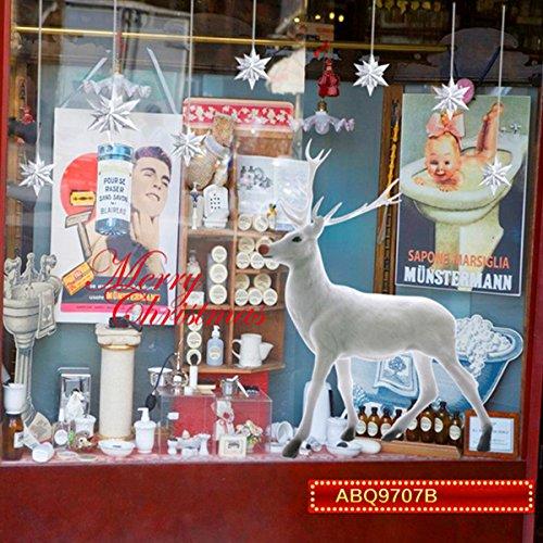 WINOMO Weihnachten Fensterbild Elch Rentier Wandaufkleber Wandtattoo abnehmbar 60x90 CM