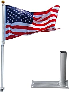 Yeshom 25ft Telescopic Aluminum Flag Pole + Wheel Tire Mount Stand Kit w/ 3'x5' Us Flag & Ball Top Telescoping Flagpole