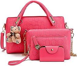 Pahajim Bolsos de Mensajero de las Mujeres de Moda Conjunto de Bolsos de Cuero de la PU cuero 4pcs Bolso de Hombro Bolso de Mano(Rosa)