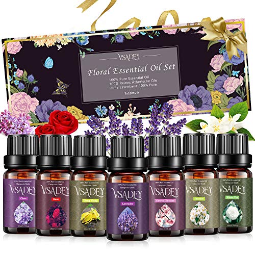 Essential Oils Set, VSADEY Floral Collection with Lavender, Rose, Jasmine, Ylang-Ylang, Cherry Blossom, Clove, White Tea Essential Oils for Diffuser, Humidifier, Massage, Skin Use & Hair Care, 7x10ML