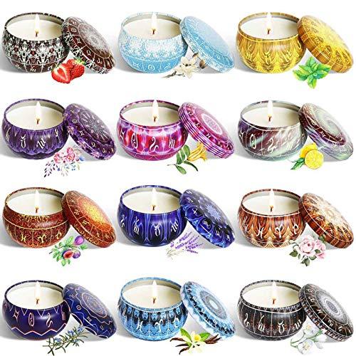 Velas Perfumadas Soy Wax Tin Velas, Velas Aromáticas para Mujer, Velas De Fragancia Natural para Alivio De Estrés Y Velas De Aromaterapia Conjunto De 12