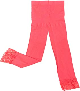 Wrapables Toddler Stretch Leggings with Lace Trim Coral Red