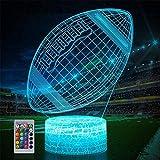 Lampe illusion 3D en forme de ballon de rugby avec télécommande, 16 couleurs changeantes, décoration de chambre à coucher, cadeau de Noël créatif pour homme, garçon, ami