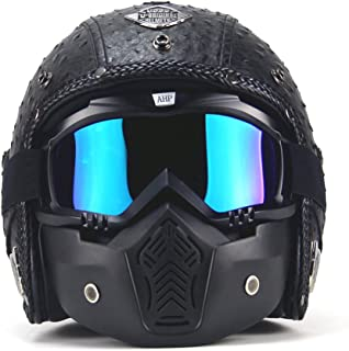 leather motorcycle helmet and goggles