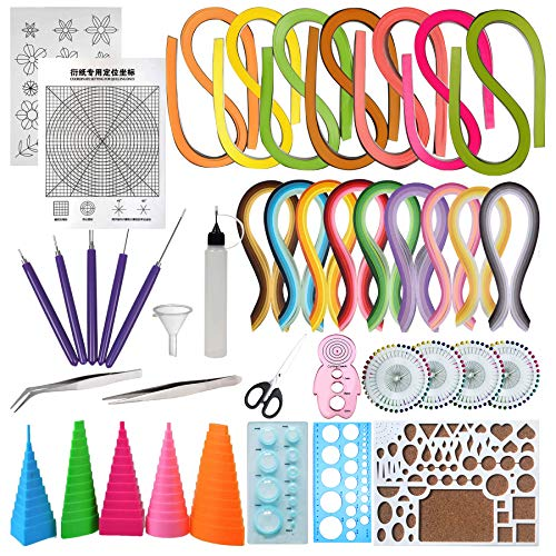 Woohome Set de Papel de Filigrana, 33 Pz Kits Papel Colores para Filigranas con 16 Colores 1600 Tiras de Quilling Papel DIY Herramientas Quilling