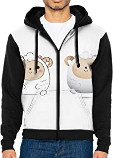 NMCEO Men Hoodie Sheep Personalized Full Zip with Pocket Sweatshirt Lightweight Thanksgiving Day
