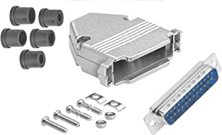 CompuCablePlusUSA.com Best DB25 Male Solder Cup Connector Kit With DB25 Metal Hood+Strain Relief Grommet, Best Complete DB25 Male Solder Type set Fix/Make/Assembly your own DB25 Cable