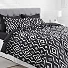 AmazonBasics 7-Piece Light-Weight Microfiber Bed-In-A-Bag Comforter Bedding Set - Full or Queen, Black Aztec