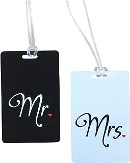 CDJX Lot de 4 porte-passeport personnalisables en cuir noir et blanc grav/é Mr et Mrs pour bagage de mariage ou vacances