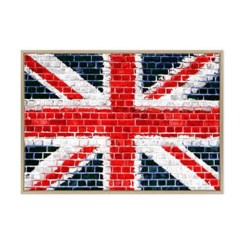 QUADRO SU TELA CANVAS INTELAIATO - CON CORNICE - UK Londra Bandiera Inglese - UNION JACK FLAG - England LONDON - 70x100cm - Stile Moderno Legno Naturale - (cod.317)