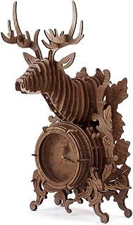 nicknack 3D Jigsaw Puzzle Wooden Reindeer Desk Clock – 52 PCS (Dark) Wooden Puzzle..