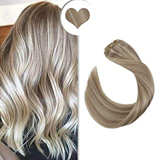 Ugeat 18inch Clip in Hair Extensions Piano Color 7PCS Per Set 120Gram Ash Blonde 18 And Bleach Blonde Color 613 Highlight Real Human Hair Clip Extensions Full Head
