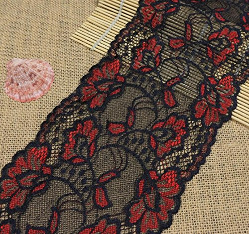 Yulakes 5 Yards Rot und Schwarz Spitzenborte Spitzenband Zierband Stretch Spitze Blume Borte Hochzeit lace Trim Deko Band,Handwerk, Schleifband 15cm Breite