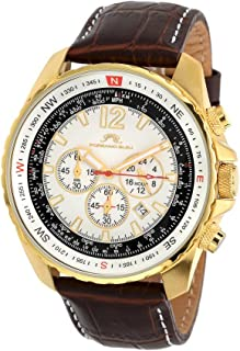 porsamo Bleu Martin Genuine Leather Gold Tone & Brown Men 's Watch 351bmal