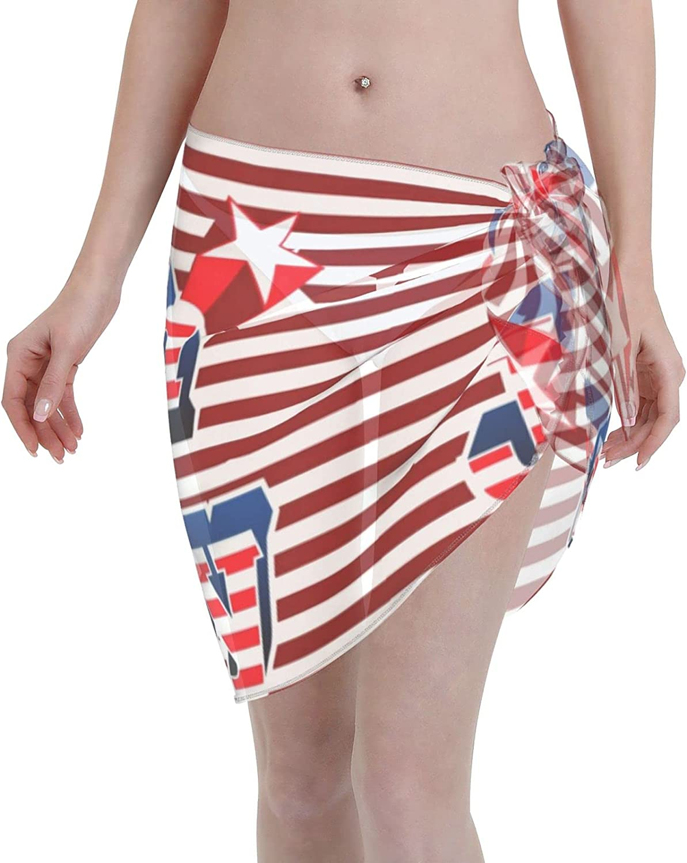 American 4th of July Women Beach Short Sarongs Cover Ups Beach Swimsuit Wrap Skirt Black