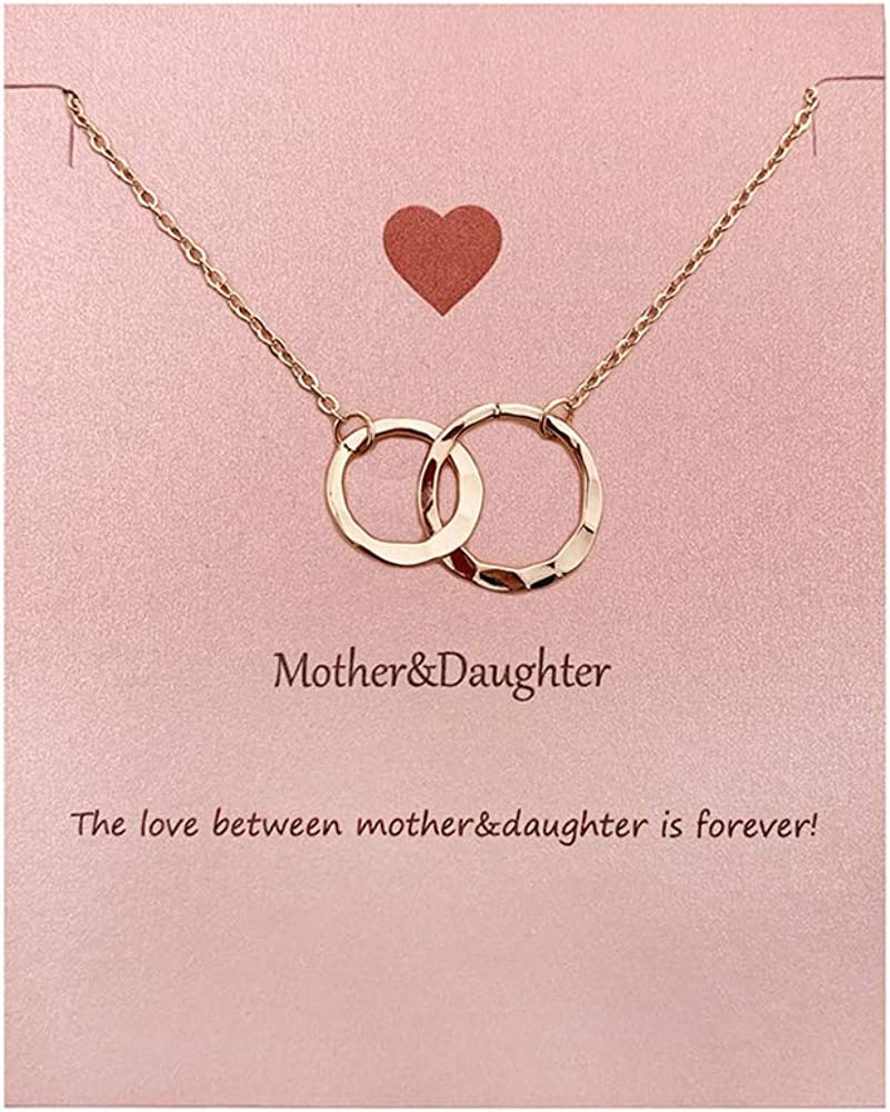 Your Always Charm Mothers Day Gifts, Mother Daughter Necklace Bracelet,Two Interlocking Infinity Double Circles Jewelry Set Mothers Day Gift