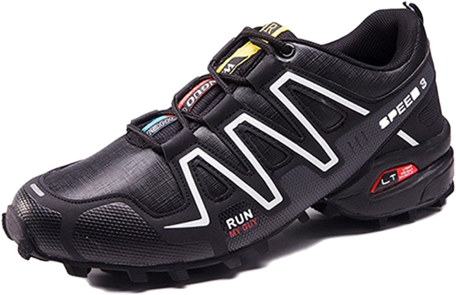 ASJUNQ Cross-Country Running shoes Men's Outdoor Sports Hiking shoes,Black-48