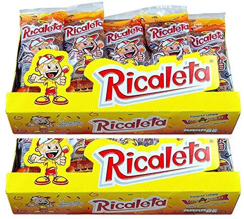 Ricaletas Paletas - Ricaleta Mexican Candy Box Tamarindo Flavored Dulces Mexicanos (50 Count) Mini Paletas Ricaletas Tamarind Lollipops Bulk