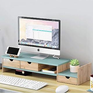 Q-HL Support de Moniteur Réhausseur d'Écran Moniteur Riser écran Stand en Bois Massif avec 3 tiroir de Rangement Bureau d'...