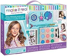 Make It Real - Mega Mermaid Makeover. Mermaid Themed Girls Makeup Kit. Starter Cosmetic Set for Kids and Tweens. Includes Case, Mirror, Eye Shadow, Blush, Mermaid Brushes, Lip Gloss, Nail Polish
