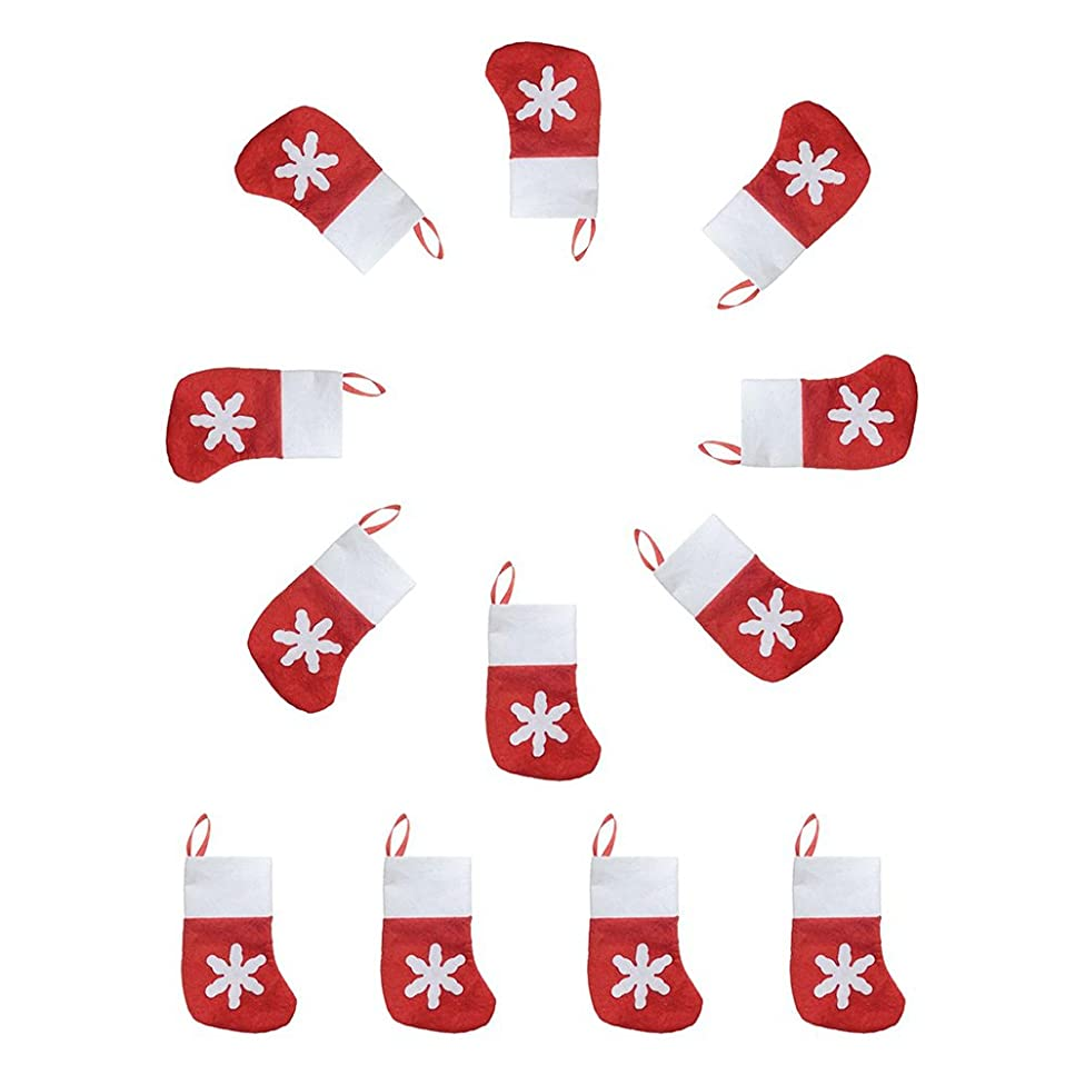 OULII Christmas Sock Gift Bags Snowflake Tableware Holders Candy Pouch Pack 12pcs
