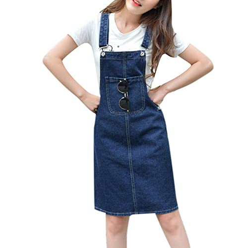 993ca2a65d9a Women s Casual Slim A Line Short Suspender Denim Pencil Skirt Bib Overall  Dress