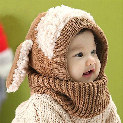OFKPO Kinder Winter mütze und Schal mit Ohren,Schalmütze aus Wolle(Braun) - 5