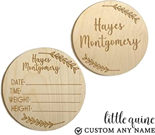 1 pc hello world I'm here custom personalized ANY NAME baby birth newborn announcement engraved wood circle sign gift