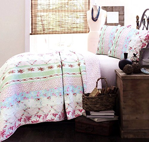 Cozy Line Home Fashions Wild Rose Floral Striped Cotton Reversible Quilt Bedding Set, Coverlet, Bedspread (Wild Rose, Twin - 2 Piece)