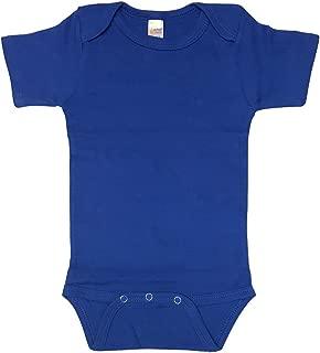 Laughing Giraffe Baby Boy Blank Solid Cotton Short Sleeve Bodysuit One Piece (0-3M, Royal)