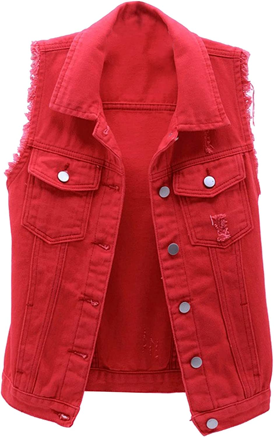 YANH 2021 Women's Fall/Winter Lapel Sleeveless Denim Vests, Solid Color Button Pocket Coats Tops, Casual Jean Jackets