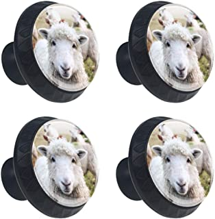 Ireland Sheep Family Drawer Knob Pull Handle Crystal Glass Circle Shape Cabinet Drawer Pulls Cupboard Knobs with Screws for Home Office Cabinet Cupboard 4 Pieces