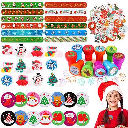 vamei Mitgebsel Weihnachten Stempel Kinder Party Gastgeschenk Kinder Weihnachtsaufkleber Schnapparmband Slap Armband Weihnachtsmann Brosche Tannenbaum Ringe Kinder Weihnachtgeschenk