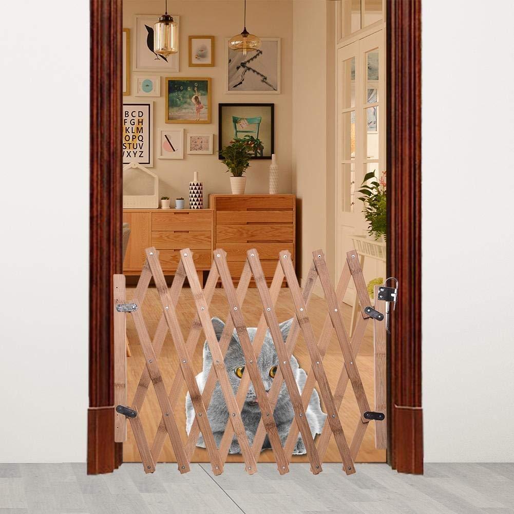 ZANGAO Puerta for Perros Valla for Mascotas Valla de Madera Puerta retráctil for Perros Puerta corredera (Color : Wood): Amazon.es: Productos para mascotas