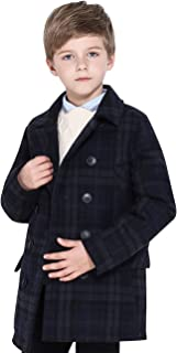 SOLOCOTE Boys Faux Wool Coat Warm Winter Peacoat Navy/Gray Plaid Elegant and Formal Style
