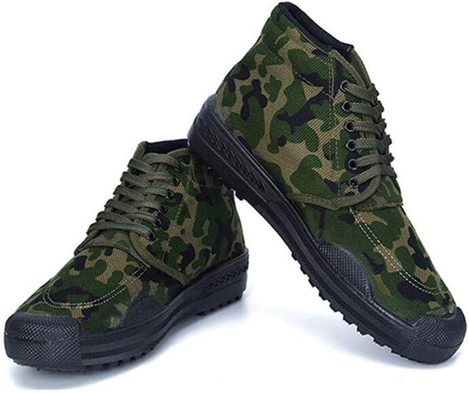 RcnryHigh wear wear resistant camouflage mountaineering outdoor shoes, canvas farm work site rubber shoes,c,42