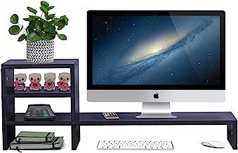 Wood Monitor Stand Riser with 2-Tier Storage Shelf 31.5 inch Desktop Organizer Computer..