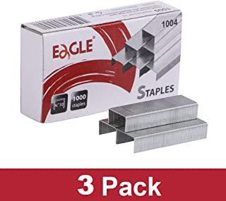 Eagle No.10 Mini Premium Staples for #10 Staplers, 1000 pcs Per Box, Pack of 3 Boxes, 3000 pcs in Total, Silver