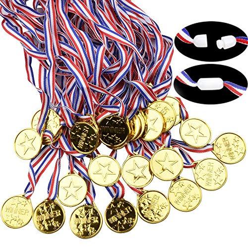 Xinlie Medallas de Plástico Medallas para Niños Medallitas Juguetito de Plástico Ganadores Medallas Oro Mini Olimpiadas con Cordón Ganadores de oro para niños Ganador de oro Premios Premios(24 Piezas)