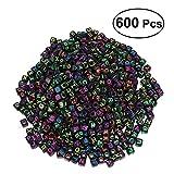 ULTNICE Cuentas de acrílico del cubo de la letra del alfabeto de 6m m para las pulseras de los collares de las pulseras, 600 pedazos (negro)