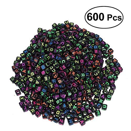 rosenice 600 Stücke 6mm Buchstaben Perlen Acryl Würfelperlen für DIY Armbänder Halsketten Schmuck Machen (Schwarz)