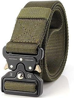 Nylon Waist Belt, Webbing Belt with Heavy-Duty Quick-Release Metal Buckle for Men Women, Green
